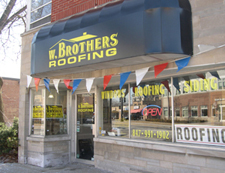 W. Brothers Roofing, Palatine Illinois showroom. A wide selection of shingles and siding samples.